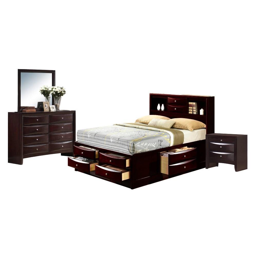 4pc King Madison Storage Bedroom Set Espresso Brown - Picket House Furnishings