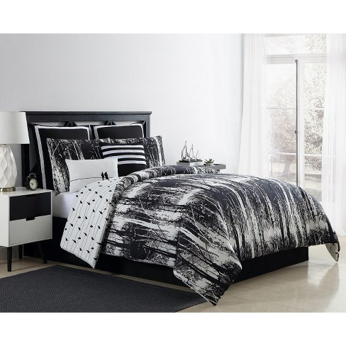 VCNY Home Woodland Reversible Black and White Comforter Set - Black 6 Piece Twin - Twin XL - image 1 of 4