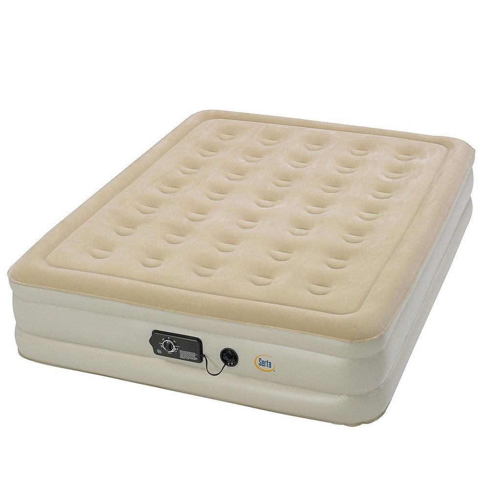 Image of Serta Comfort Air Mattress with Electric Pump - Double High Queen (Beige)