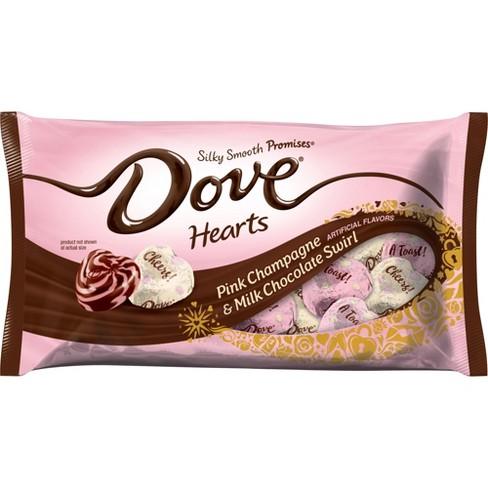 Dove Valentines Day Pink Champagne Milk Chocolate Swirl Hearts