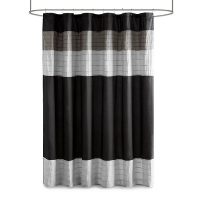72 x72  Bevis Pieced and Pintucked Shower Curtain Black