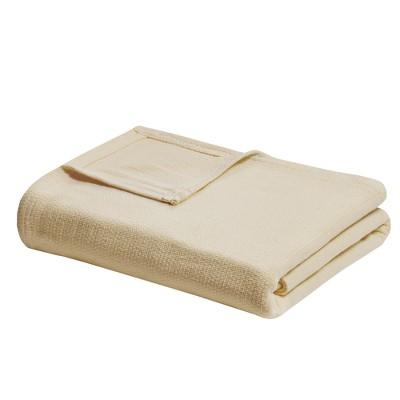 King Freshspun Basketweave Cotton Bed Blanket Yellow
