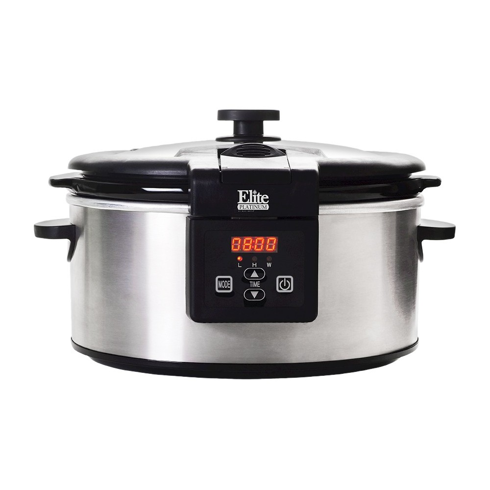 Elite Platinum 6 Qt. Programmable Slow Cooker, Medium Silver 49123896