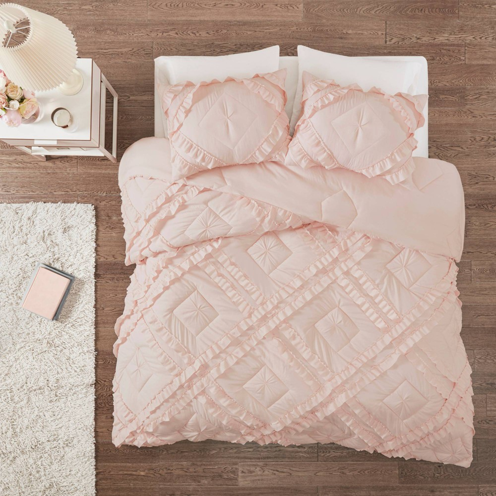 Elia Full Queen 3pc Tufted Diamond Ruffle Coverlet Set Blush