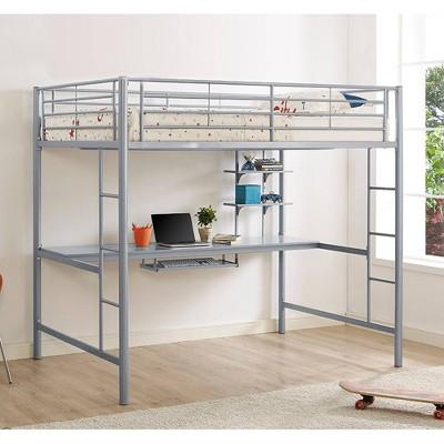 Full Premium Metal Loft Bed with Wood Workstation Silver - Saracina Home
