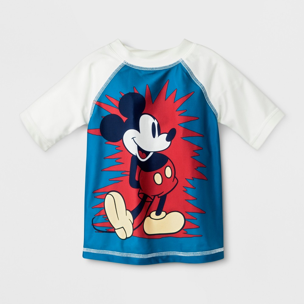 Image of Junk Food Toddler Boys' Disney Mickey Mouse Rash Guard - Blue 2T, Boy's, Size: Large