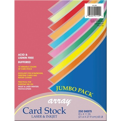Array Card Stock Paper, 8-1/2 x 11 Inch, Assorted Colorful Colors, pk of 250