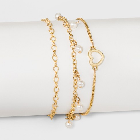 Three Piece Set with Mixed Chain, Open Heart and Simulated Pearl Anklet - Gold - image 1 of 1