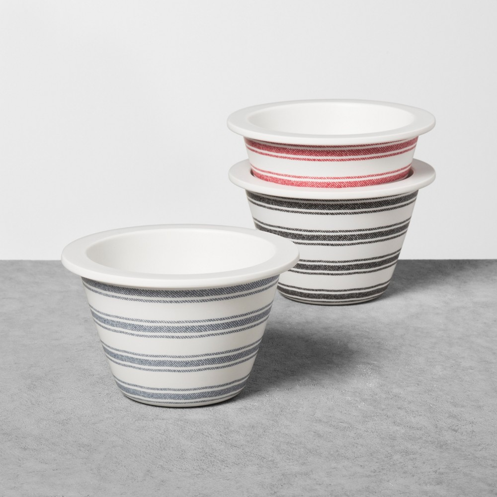 Melamine Stripe Dip Bowl Set of 3 - Black/Red/Blue - Hearth & Hand with Magnolia, Ivory