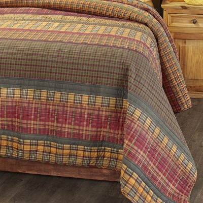 Lakeside Gold Rush Oversized Plaid Bed Top Quilt with Reversible Back