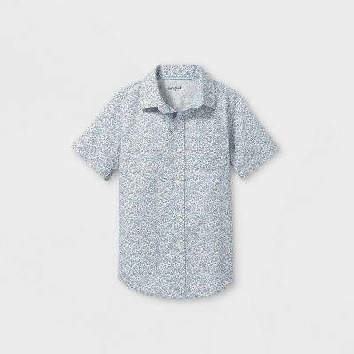 Boys' Woven Short Sleeve Button-Down Shirt - Cat & Jack™ Cream/Blue