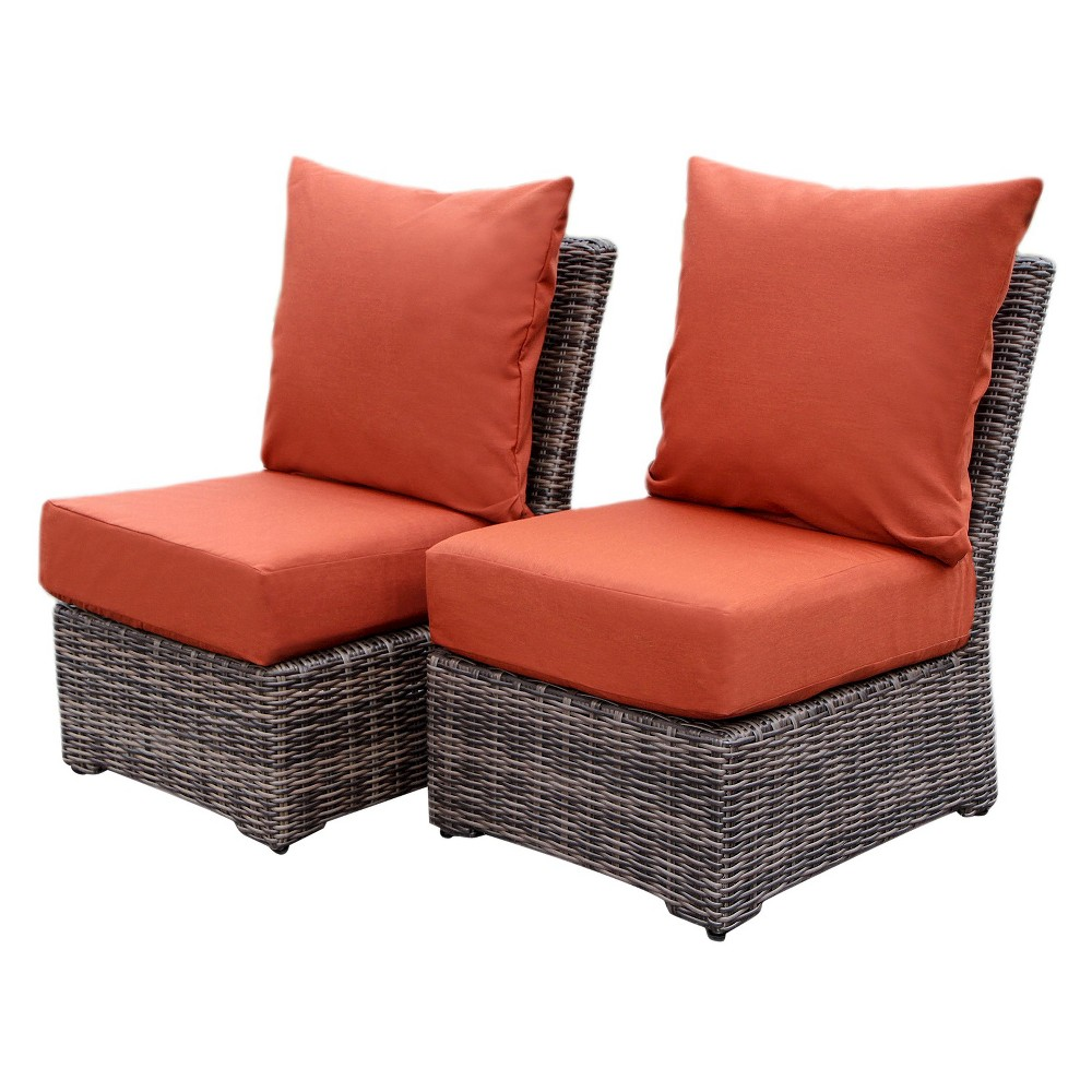 Cherry Hill 2pc Resin Wicker Armless Deep Seating Chairs with Sunbrella Fabric Canvas Brick - AE Outdoor