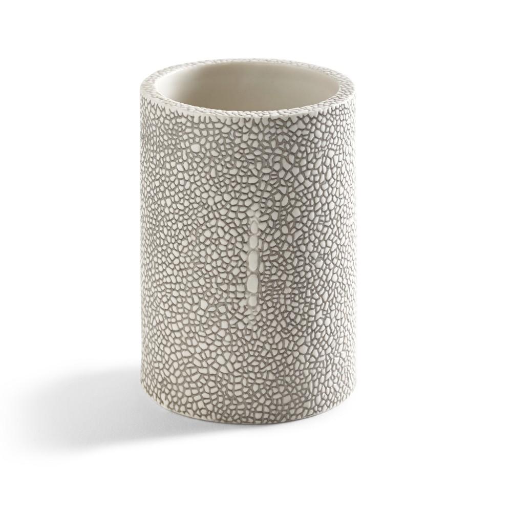 Shagreen Bathroom Coordinate Solid Porcelain Tumbler Gray - Kassatex