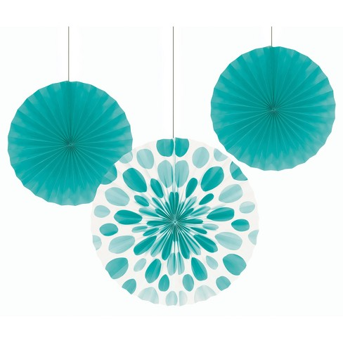 3ct Paper Lagoon Fan Set Teal - image 1 of 2