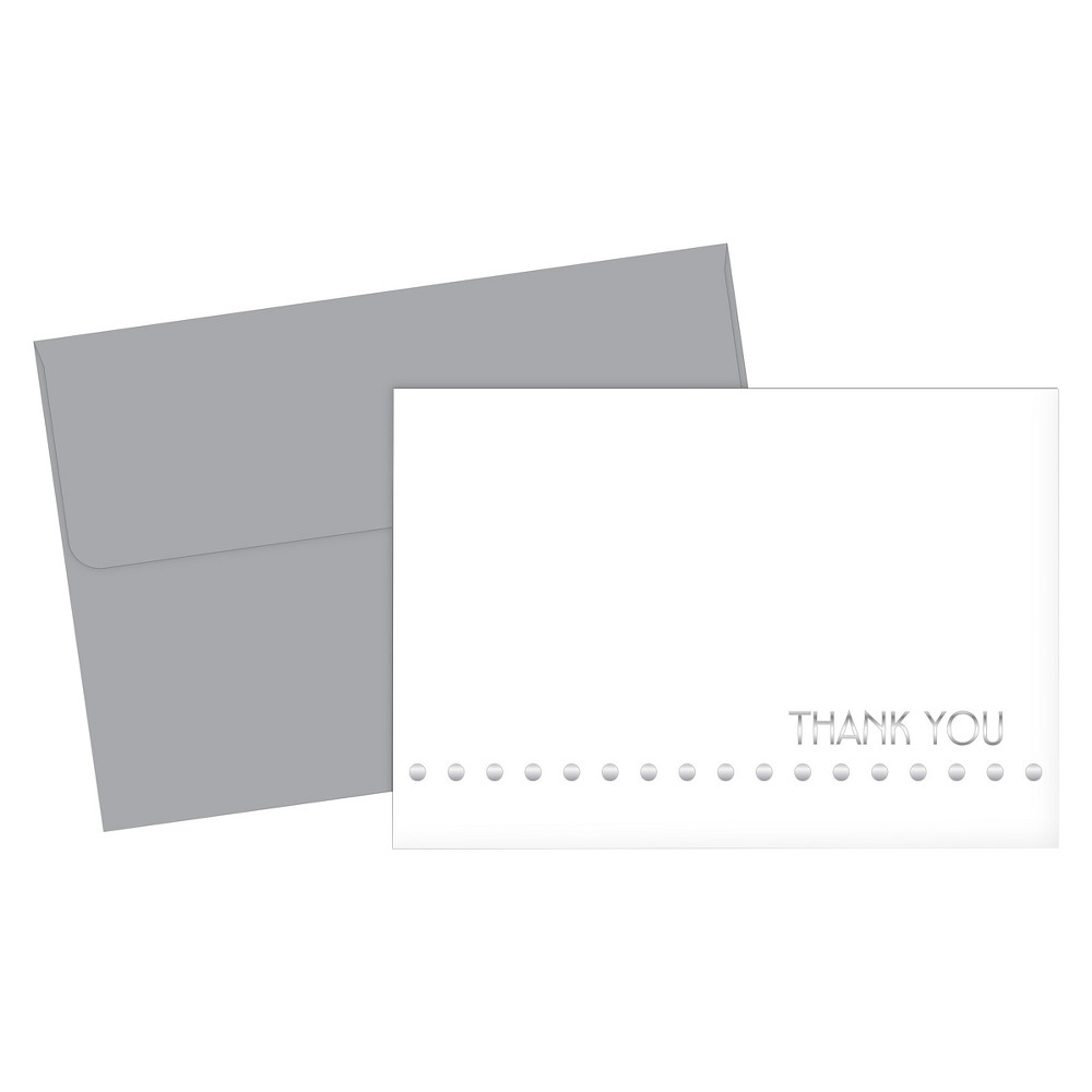 Silver Thank You Cards - 24ct Great Papers thank you note cards are perfect for any season or reason. These silver foil accented note cards will brighten everyone's day. Show your gratitude today by saying thank you in a stylish way.
