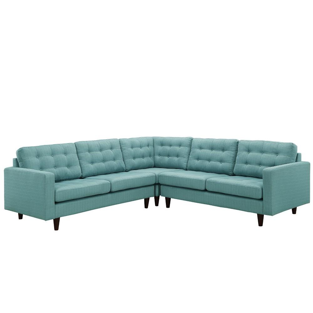 Empress 3pc Upholstered Fabric Sectional Sofa Set Laguna - Modway