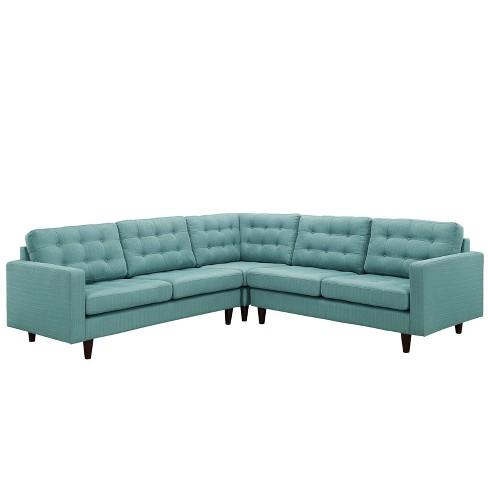Empress 3pc Upholstered Fabric Sectional Sofa Set Laguna - Modway - image 1 of 4