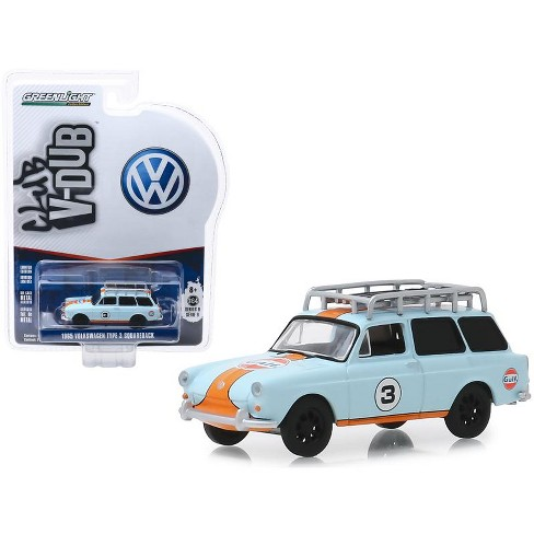 "1965 Volkswagen Type 3 Squareback #3 ""Gulf Oil"" with Roof Rack ""Club Vee V-Dub"" Series 9 1/64 Diecast Car by Greenlight - image 1 of 1"