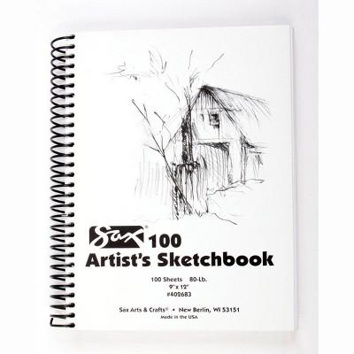 Sax 100 Artist's Sketchbook, 80 lb, 9 x 12 Inches, White