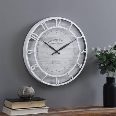 Kensington Farmhouse Clock White - FirsTime