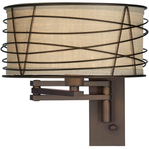 Franklin Iron Works Rustic Farmhouse Swing Arm Wall Lamp Bronze Plug-In Light Fixture Wire Cage Burlap Drum Shade Bedroom Bedside - image 1 of 4