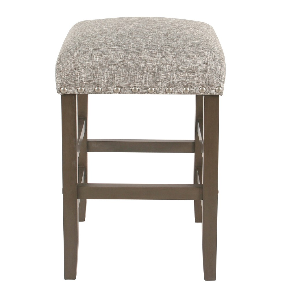Backless 24 Counter Stool with Nailheads Sterling Gray - Homepop