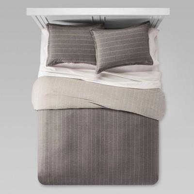 Gray Flannel Line Work Duvet & Sham Set (Full/Queen)- Threshold™