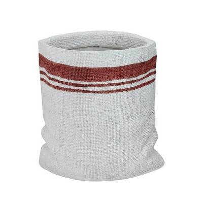 """Allstate Floral 8"""" White and Red Sack with Stripes Christmas Potted Plant Holder"""
