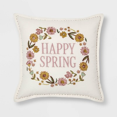 Square Floral 'Happy Spring' Easter Pillow - Threshold™