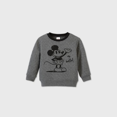 Toddler Boys' Mickey Mouse 'Oh Hello' Quilted Fleece Pullover Sweatshirt - Heather Gray