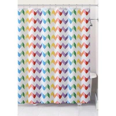GoodGram Home Pride Vivid Rainbow Chevron Fabric Shower Curtain - Standard Size -