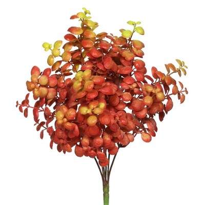 "Vickerman 12"" Artificial Red Leaf Bush, Set of 3"
