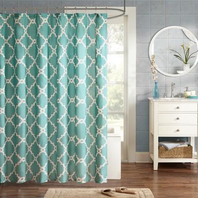 Becker Printed Geometric Shower Curtain - Aqua