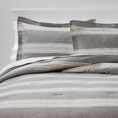 King Chambray Yarn Dye Stripe Comforter & Sham Set Gray - Threshold™