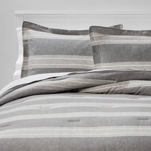 Chambray Yarn Dye Stripe Comforter, Target Gray Bedding Sets