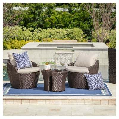 Costa Rica 3pc All-Weather Wicker Patio Chat Set - Brown - Christopher Knight Home