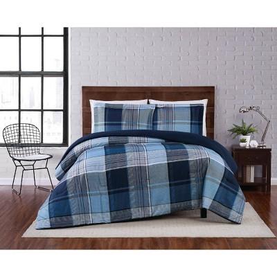 Trey Plaid Comforter Set Navy - Truly Soft