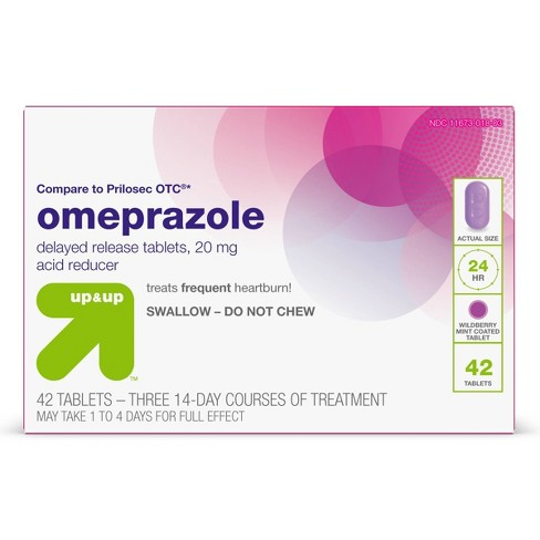 Omeprazole 20mg Acid Reducer Delayed Release Tablets - Wildberry Mint Flavor - 42ct - up & up™ - image 1 of 4