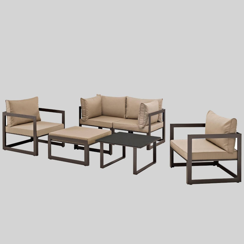 Fortuna 6pc Outdoor Patio Sectional Set - Mocha (Brown) - Modway