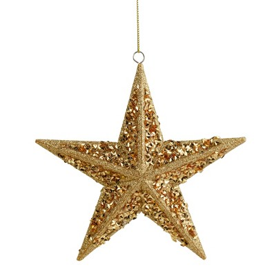 """Northlight 5.5"""" Gold Star Shaped Glittered Christmas Ornament"""