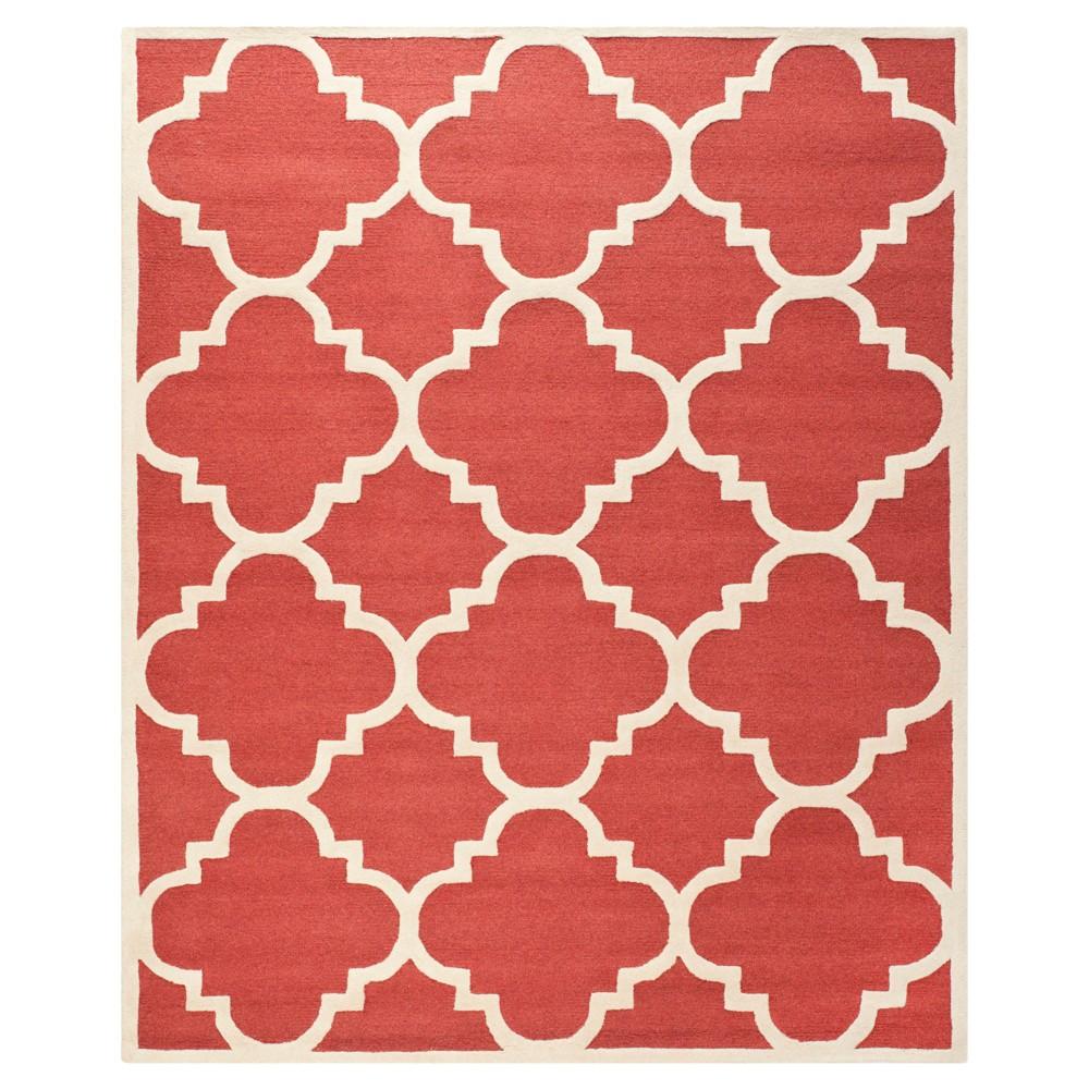 Landon Texture Wool Rug - Rust / Ivory (9' X 12') - Safavieh, Red/Ivory