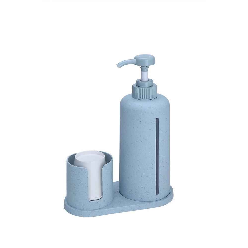 Bioplastics Mouthwash Dispenser Set Blue Enhome