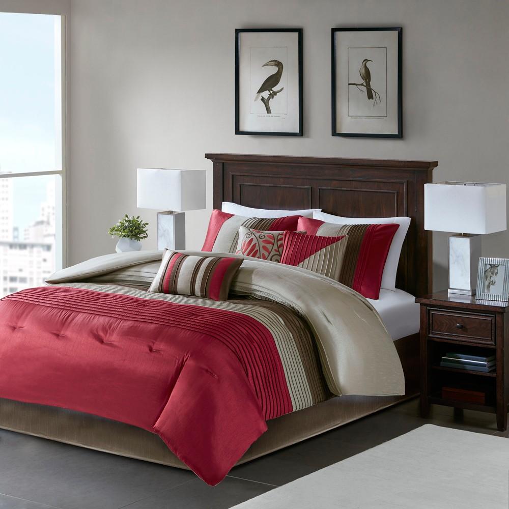 Salem 7 Piece Comforter Set - Red (King)