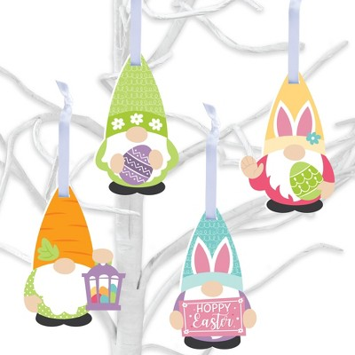 Big Dot of Happiness Easter Gnomes - Spring Bunny Decorations - Tree Ornaments - Set of 12