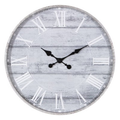 "28"" Galvanized Plank Roman Numerical Round Wall Clock Metal/Washed Wood - Patton Wall Decor"