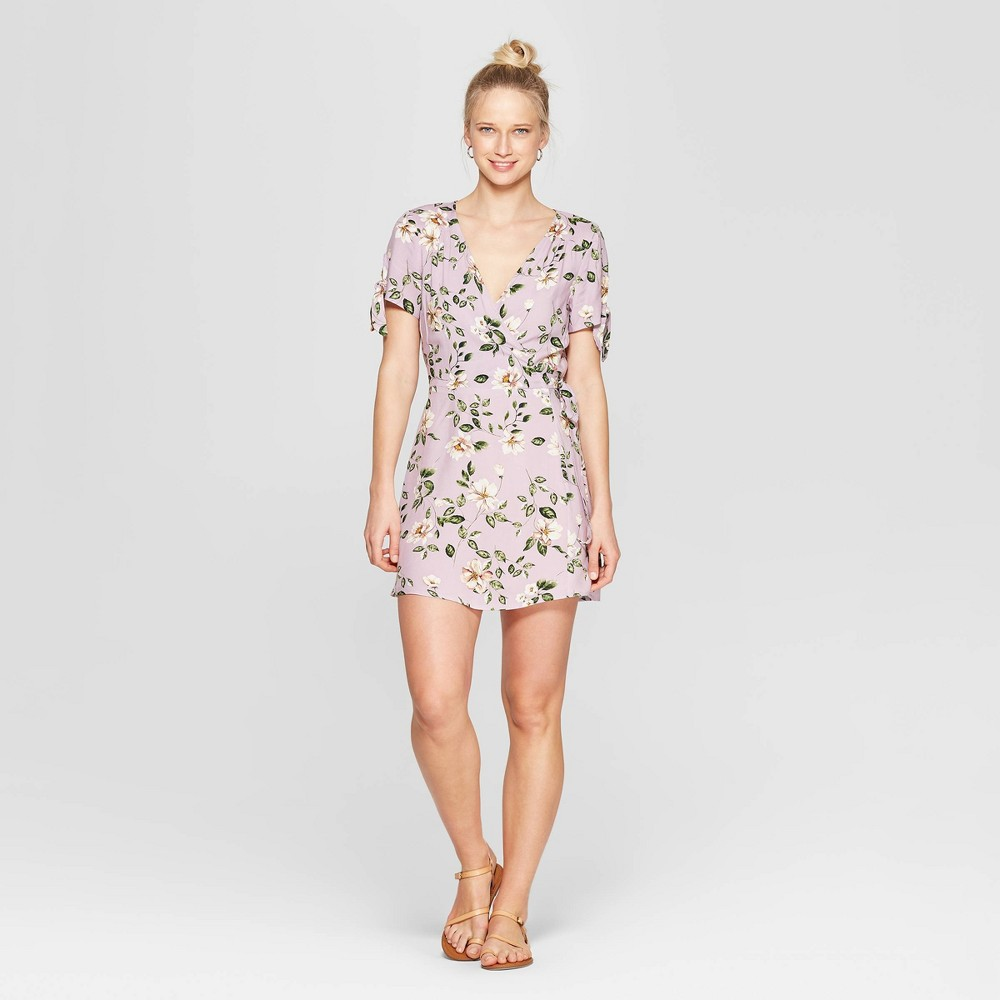 Women's Floral Print Short Sleeve V-Neck Wrap Dress - Xhilaration Lilac XL, Purple