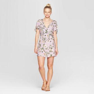 Women's Floral Print Short Sleeve V-Neck Wrap Dress - Xhilaration™ Lilac S
