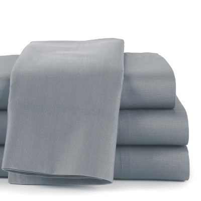 Lakeside 300 Thread Count Cotton Spring Fitted Bed Sheet Set - Full - Dark Gray