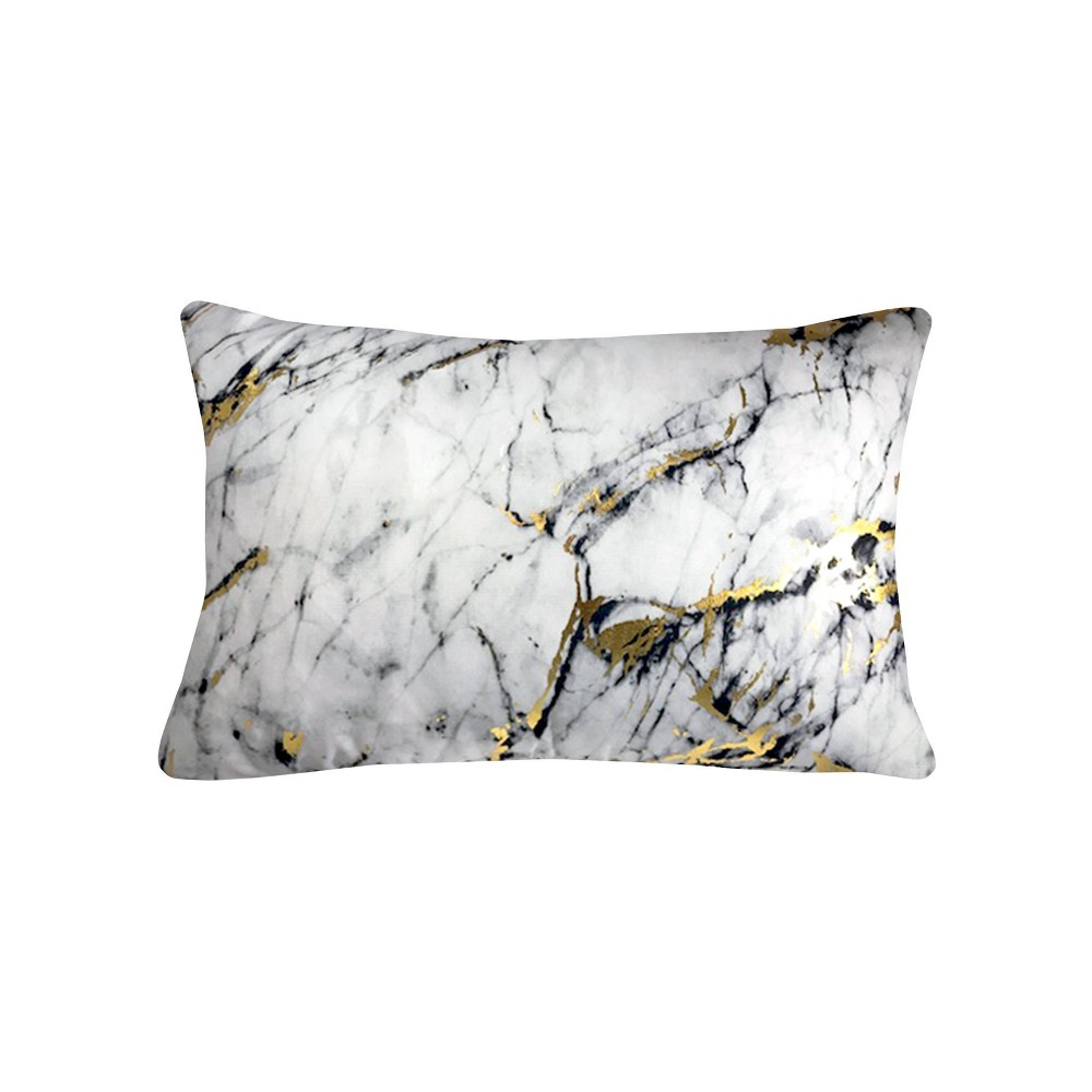 "Image of ""14""""x20"""" Precious Metals Collection Printed Marble Lumbar Pillow White - Edie@Home"""