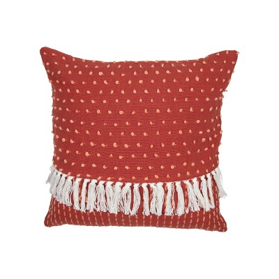 Red Dot Patterned Hand Woven 18 x 18 inch Decorative Cotton Throw Pillow Cover With Insert and Hand Tied Fringe - Foreside Home & Garden